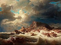 Stormy sea with ship wreck, 1857, larson