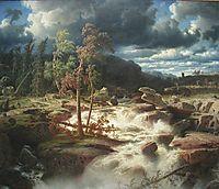 Waterfall in Småland, 1856, larson