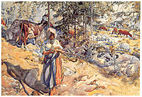 Cowgirl in the meadow, 1906, larsson
