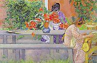 Karin and Brita with cactus, 1909, larsson
