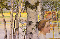 Lisbeth at the birch grove, 1910, larsson