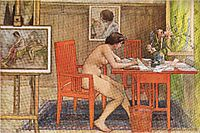 Model Writing Postcards, 1906, larsson