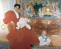 Mrs Dora Lamm and Her Two Eldest Sons, 1903, larsson