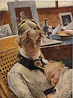 A studio idyll. The artist-s wife with daughter Suzanne, larsson