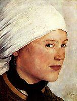 Bauernmädchen mit weißem Kopftuch, 1876, leibl