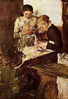 Strickende Mädchen auf der Ofenbank, 1895, leibl