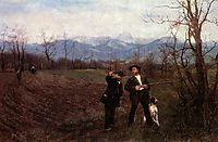 Wilhelm Leibl and Sperl on the hunt, 1895, leibl