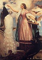 A Girl Feeding Peacocks, 1862-1863, leighton