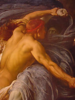 Hercules Wrestling with Death for the Body of Alcestis detail 1, 1869-1871, leighton
