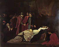 The Reconciliation of the Montagues and Capulets over the Dead Bodies of Romeo and Juliet, 1853-1855, leighton