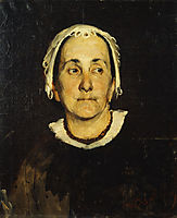 Portrait of lady wearing white cap, lembesis