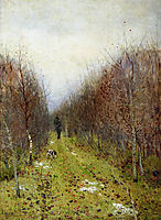 Autumn landscape with hunter, 1880, levitan