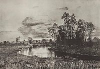 Gray day. River., c.1885, levitan