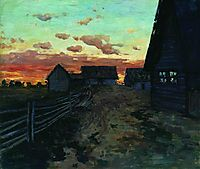 Huts after sunset, 1899, levitan