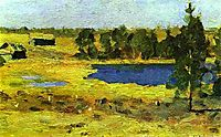 The Lake. Barns at the edge of forest., 1899, levitan
