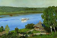 Landscape with a steamboat, c.1888, levitan