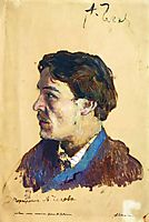 Portrait of writer Anton Chekhov, 1886, levitan