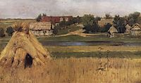 Sheaves and a Village Beyond the River, c.1881, levitan