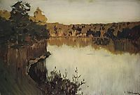 Sunset over a Forest Lake. Study, c.1895, levitan