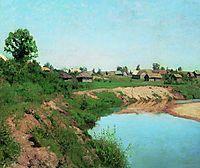 Village at the riverbank, 1883, levitan