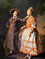 Portrait of E. N. Khruschova and Princess E. N. Khovanskaya, 1773, levitzky