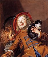 Laughing Children with a Cat, 1629, leyster
