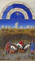 Facsimile of December: Hunting Wild Boar, limbourg