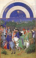 Facsimile of May: Celebrating May Day Near the Town of Riom in the Auvergne, c.1415, limbourg