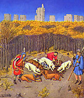 Fascimile of December: Hunting Wild Boar, limbourg