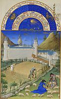 Fascimile of July: Harvesting and Sheep Shearing, limbourg