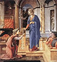 The Annunciation with two Kneeling Donors, 1455, lippi