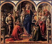Madonna and Child with St. Fredianus and St. Augustine, 1438, lippi