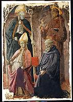 Saints Augustin and Francis, a Bishop Saint, and Saint Benedict, lippi