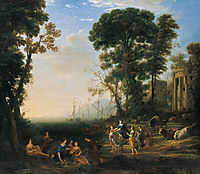 Coast Scene with Europa and the Bull, oil on canvas painting by Claude Lorrain, 1634, , 1634, lorrain