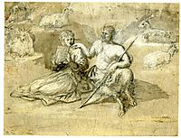 Drawing of a satyr, a girl and goats, lorrain