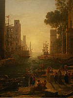 Embarkation of St. Paula in Ostia, lorrain