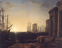 Harbour Scene at Sunset, 1643, lorrain