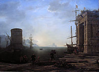 Harbour view at sunrise, c.1637, lorrain
