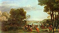 Landscape with the Adoration of the Golden Calf, 1653, lorrain