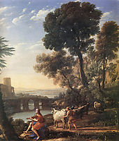 Landscape with Apollo Guarding the Herds of Admetus, 1645, lorrain
