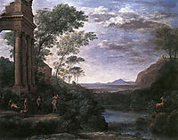 Landscape with Ascanius Shooting the Stag of Sylvia, 1682, lorrain