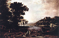 Landscape with Merchants, c.1630, lorrain