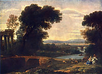 Landscape with Rest in Flight to Egypt, 1666, lorrain