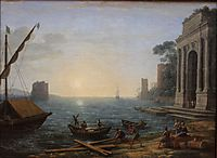 A Seaport at Sunrise, 1674, lorrain