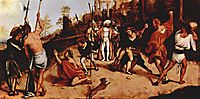 Altar polyptych of San Bartolomeo, Bergamo, foot plate: Martyrdom of St. Stephen, 1516, lotto