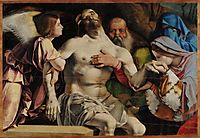 Altar of Recanati polyptych, crowning the main board: Angel Pietà, 1508, lotto