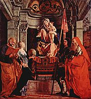 Altar of Santa Cristina al Tiverone, main board: Madonna Enthroned, St. Peter and St. Christina of Bolsena, St. Liberalis and St. Jerome, 1505, lotto