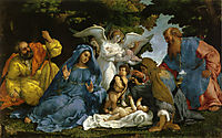 Holy Family with angels and saints , lotto
