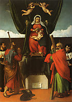 Madonna and Child Enthroned with Four Saints, 1546, lotto