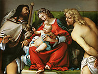 Madonna with St. Roch and St. Sebastian, c.1522, lotto